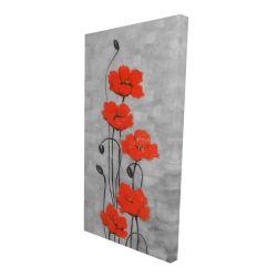 Canvas 24 x 48 - 3D - Big red flowers