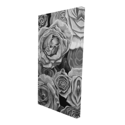 Canvas 24 x 48 - 3D - Grayscale roses