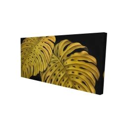 Canvas 24 x 48 - 3D - Gold monstera