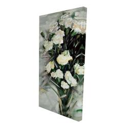 Canvas 24 x 48 - 3D - Lisianthus white bouquet