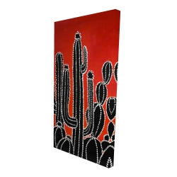 Canvas 24 x 48 - 3D - Black tall cactus