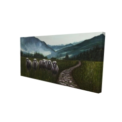 Canvas 24 x 48 - 3D - Sheep in the countryside