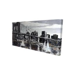 Canvas 24 x 48 - 3D - Brooklyn bridge with sailboats