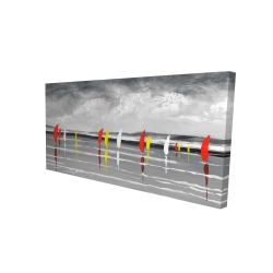 Canvas 24 x 48 - 3D - Sailboats on the lake
