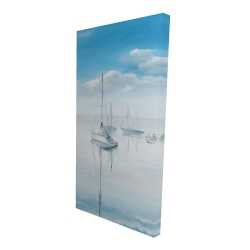 Canvas 24 x 48 - 3D - Sailboats on the quiet lake