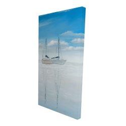 Canvas 24 x 48 - 3D - Two sailboats on the quiet lake
