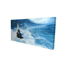 Canvas 24 x 48 - 3D - Unleashed waves on a lighthouse