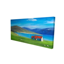 Canvas 24 x 48 - 3D - Scottish highlands with a little red roof house