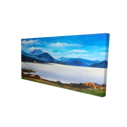 Canvas 24 x 48 - 3D - Scottish highlands by a beautiful day