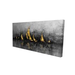 Canvas 24 x 48 - 3D - Gold sailboats