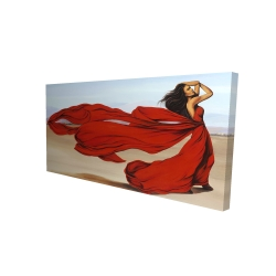 Canvas 24 x 48 - 3D - Woman with a long red dress in the desert