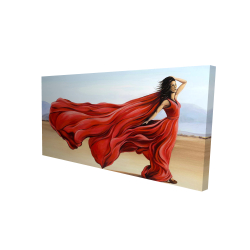 Canvas 24 x 48 - 3D - Red dress in the desert