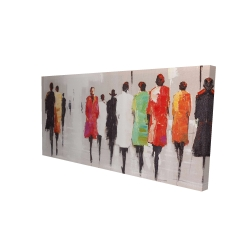Canvas 24 x 48 - 3D - People's silhouette on the street
