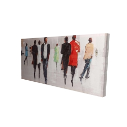 Canvas 24 x 48 - 3D -  silhouettes in the street