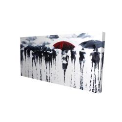 Canvas 24 x 48 - 3D - Abstract silhouettes under the rain