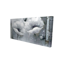 Canvas 24 x 48 - 3D - Grayscale flowers