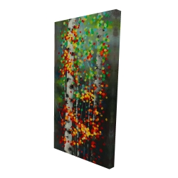 Canvas 24 x 48 - 3D - Colorful dotted leaves birches