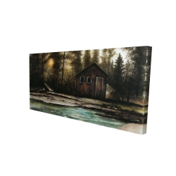 Canvas 24 x 48 - 3D - Cabin in the forest