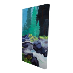 Canvas 24 x 48 - 3D - Beautiful waterfall