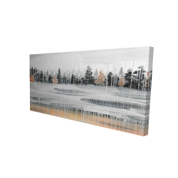 Canvas 24 x 48 - 3D - Fall rainy day landscape with trees