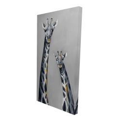 Canvas 24 x 48 - 3D - Steel blue giraffe