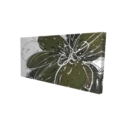 Canvas 24 x 48 - 3D - Green flower with splash outline