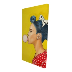 Canvas 24 x 48 - 3D - Retro woman with beautiful ponytail