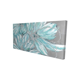 Canvas 24 x 48 - 3D - Three little abstract blue flowers