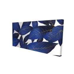 Canvas 24 x 48 - 3D - Abstract modern blue leaves