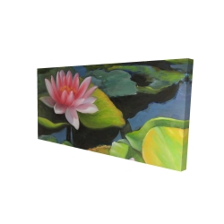 Canvas 24 x 48 - 3D - Water lilies and lotus flowers