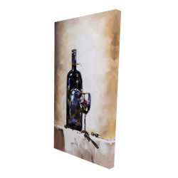 Canvas 24 x 48 - 3D - Bottle and a glass of red wine