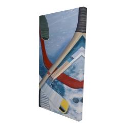 Canvas 24 x 48 - 3D - Hockey sticks on ice