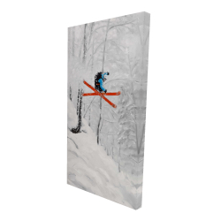 Canvas 24 x 48 - 3D - Man skiing in steep offpiste terrain
