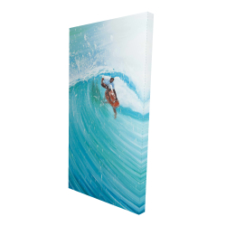 Canvas 24 x 48 - 3D - Surfer in the middle of the wave