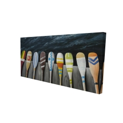 Canvas 24 x 48 - 3D - Colorful paddles on the dock