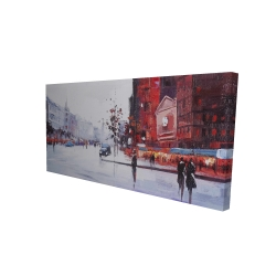 Canvas 24 x 48 - 3D - Black and red street scene
