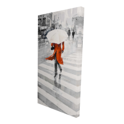 Canvas 24 x 48 - 3D - Rainy day in the city