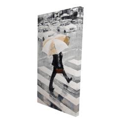 Canvas 24 x 48 - 3D - Man walking with his umbrella