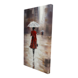 Canvas 24 x 48 - 3D - Quiet walk in the rain