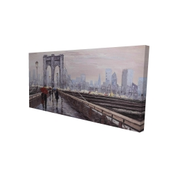 Canvas 24 x 48 - 3D - Brooklyn bridge with passersby