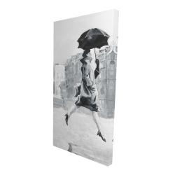 Canvas 24 x 48 - 3D - Woman in the rain