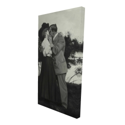 Canvas 24 x 48 - 3D - Vintage couple kissing