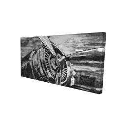 Canvas 24 x 48 - 3D - Vintage airplane propeller