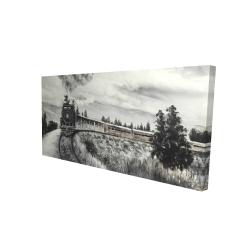 Canvas 24 x 48 - 3D - Steam engine train