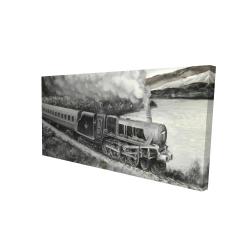 Canvas 24 x 48 - 3D - Vintage passenger locomotive