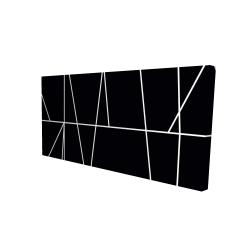 Canvas 24 x 48 - 3D - White stripes on black background
