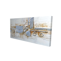 Canvas 24 x 48 - 3D - Abstract shape with metal looking finish