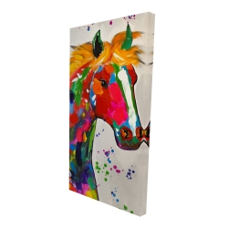Canvas 24 x 48 - 3D - Abstract colorful horse with paint splash