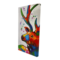 Canvas 24 x 48 - 3D - Abstract colorful deer with paint splash