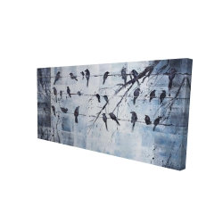 Canvas 24 x 48 - 3D - Abstract birds on electric wire